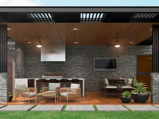 Diseño Interior y Área Social : Terrazas de estilo  por HZH Arquitectura & Diseño