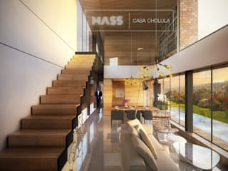 Casa Cholula 2: Salas de estilo rústico por MASS Architectural Studio