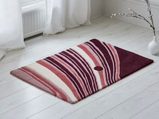 Saturn's Rings Diagonal Stripe Statement Wool Rug:   by Interiors by Element