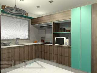 Cozinha Com detralhes em Azul Turquesa por SDA projetos Moderno