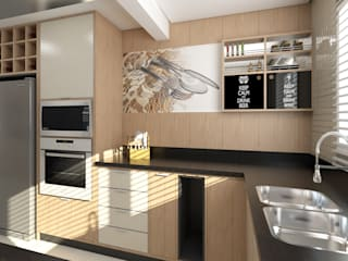 Residência Condomínio Firenze: Cozinhas  por Giovana Lumertz Design de Interiores,Moderno