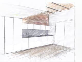 Atico y 2 Apartamentos en Barcelona Cucina moderna di basarchitetti Moderno
