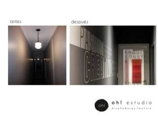 proyecto OFICINAS ESTUDIO Y CONSTRUCTORA : Pasillos y recibidores de estilo  por OH! estudio diseño & arquitectura