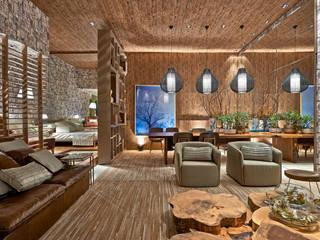 Rustik Oturma Odası Luciana Savassi Guimarães arquitetura&interiores Rustik