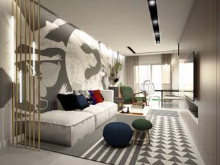 APARTAMENTO BRAVA 603: Salas de estar  por TÉRREO arquitetos,Moderno