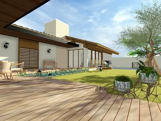 Residência estilo colonial com releitura moderna: Jardins  por BOULEVARD ARQUITETURA