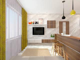 Дизайн проект гостиной совмещенной с кухней: Гостиная в . Автор – Дизайнер-Архитектор Татьяна Лапунова