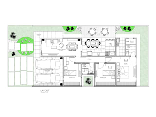 Layout Casa Térrea:   por Rmlo Arquitetura . Design . Iluminação