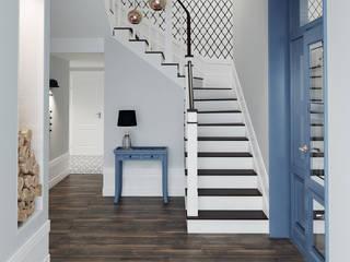 dom z niebieskimi drzwiami - projekt: styl , w kategorii Korytarz, przedpokój zaprojektowany przez Saje Architekci Joanna Morkowska-Saj,