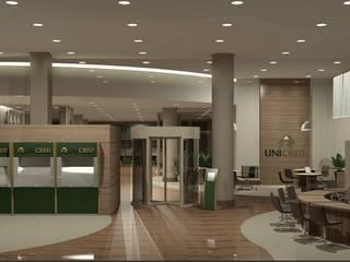 Unicred Metropolitana Espaços comerciais modernos por Angelica Hoffmann Arquitetura e Interiores Moderno