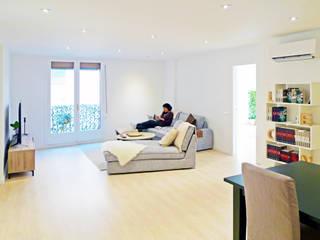 Leona's apartment 01: Salones de estilo  de re-BCN | reformas BARCELONA | Oficina de Arquitectura