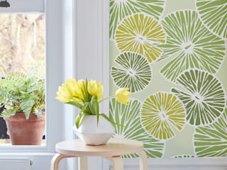 Pond Life Cheerful Spring Green Lilypad Wallpaper:   by Interiors by Element