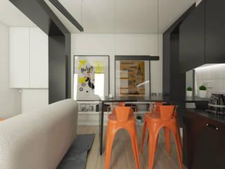 Mieszkanie na wynajem: styl , w kategorii Salon zaprojektowany przez emc|partners