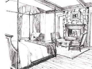 Example Sketch - Level 3 (Artistic-quality black and white pencil drawing):   by Kevin Gray Interiors