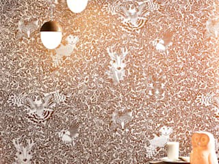 FOREST Copper Rust Metallic Screen Print Wallpaper 10m Roll:   by Hevensent