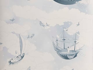 FISHING FOR STARS Sky Blue Wallpaper 10m Roll Hevensent HogarAccesorios y decoración