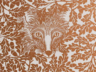 FOREST Copper Rust Metallic Screen Print Wallpaper 10m Roll de Hevensent Escandinavo