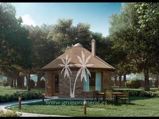 CHOZO DE JUNCO AFRICAN, MODELO KENIA, PLANTA BAJA, LLAVE EN MANO: Casas de estilo  de GRUPO ROMERAL