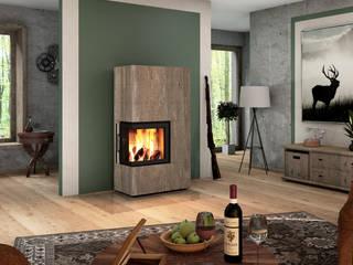CB stone-tec GmbH Ruang Keluarga Modern Batu