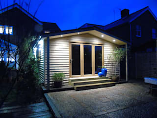 Pitched Roof Garden Office with Storage:  Study/office by Miniature Manors Ltd
