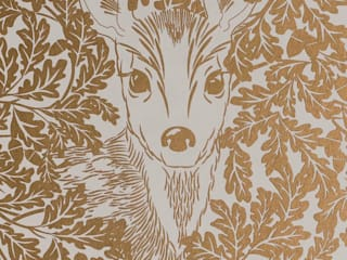 FOREST Midas Gold Screen Print Wallpaper 10m Roll:   by Hevensent