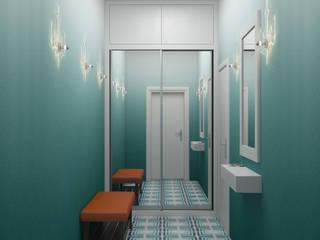 Ёрумдизайн Scandinavian style corridor, hallway& stairs Tiles Turquoise