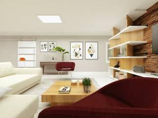Salas de estilo moderno de Cíntia Schirmer | arquiteta e urbanista Moderno Derivados de madera Transparente