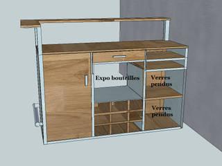 Structurer une cuisine ouverte sur un salon, conception d 'un meuble bar sur mesure. par Meublesetdeco