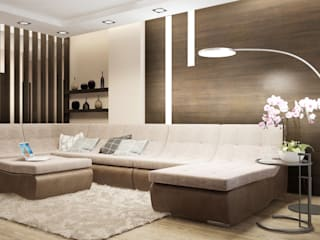 Александра Петропавловская Minimalist living room Wood Beige