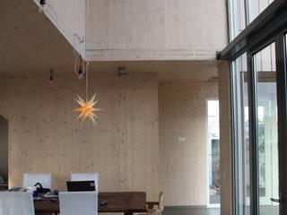 Houten huis Rieteiland Oost Amsterdam:  Woonkamer door Architectenbureau Jules Zwijsen, Modern