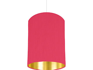 Cerise pink lampshade with gold mirrored lining 20 cm wide:   by bymarie