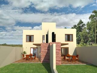 Vista posterior pastios: Casas de estilo mediterraneo por Estudio ACC