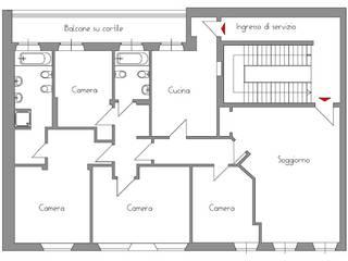 Rilievo dell'appartamento esistente: Case in stile in stile Moderno di Architetto De Grandi