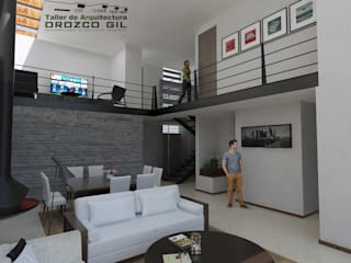 CASA LOPEZ-CADENA: Salas de estilo  por OROZCO GIL TALLER DE ARQUITECTURA