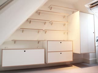 Full Shelving system with cabinets and wardrobe:   by Happenstance Workshop