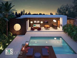 Piscina e Área Gourmet: Casas  por MS One Arquitetura & Design de Interiores