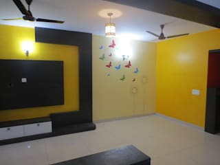 HCD DREAM Interior Solutions Pvt Ltd Livings de estilo moderno Contrachapado Amarillo