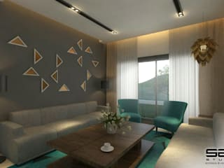 Residential Apartment :  Living room by S2A studio