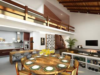 Ana Carolina Cardoso Arquitetura e Design Ruang Makan Modern Kayu White