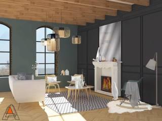 Ancien/ moderne Salon scandinave par Agence Adeline Allard Scandinave