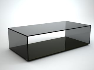 Quebec Rectangular Grey Tint Glass Coffee Table by Klarity: modern  by Klarity Glass Furniture, Modern