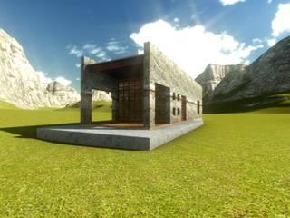Cabaña de piedra y madera:  de estilo  por Arqlimine