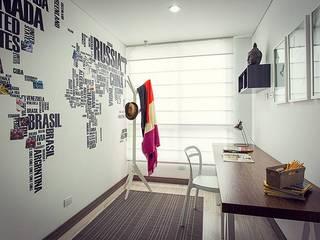 Apto Felisa Estudios y despachos de estilo moderno de Maria Mentira Studio Moderno