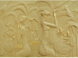 3 D Gold Leafed Mural Mint White Sandstone - Apsaras reaping Gold Corn:  Living room by HOUZDECOR