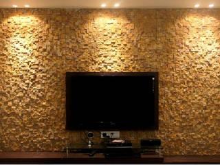 Teak Sandstone Rockface Pixel Stacking Modern living room by HOUZDECOR Modern