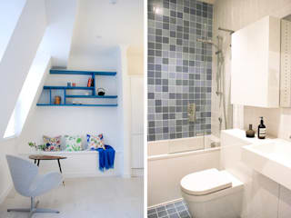 Tiled Bathroom and Colourful Living Space: modern Bathroom by Collective Works
