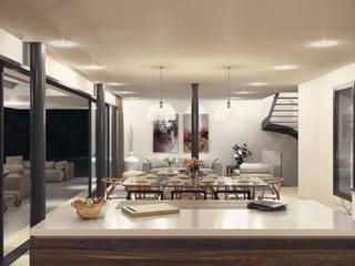 Villas en la Costa del Sol (Diseño interior en infografías) Salones de estilo moderno de DIKA estudio Moderno