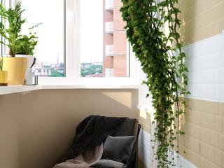 Skandinavischer Balkon, Veranda & Terrasse von Студия интерьерного дизайна happy.design Skandinavisch