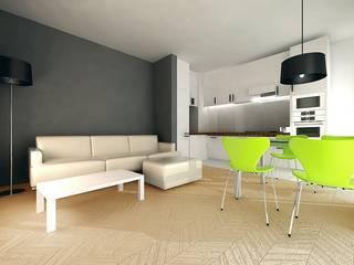 Wnętrze części dziennej _dom w Katowicach: styl , w kategorii Salon zaprojektowany przez e-Architekt