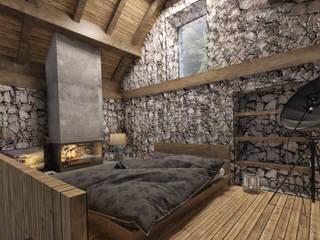 Baita Montagna: Camera da letto in stile  di SlowMonkey arch.